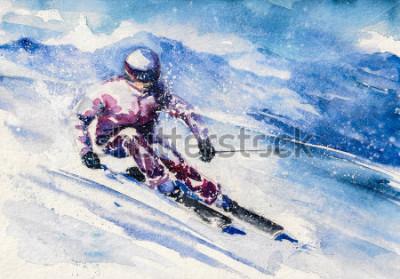 Poster O esquiador da montanha desliza da montanha. Imagem criada com aquarelas.