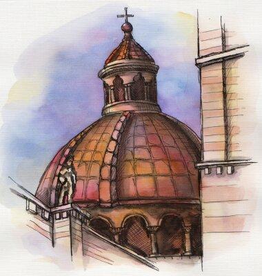 Poster O famoso edifício da Florença Santa Maria mão desenho aguarela