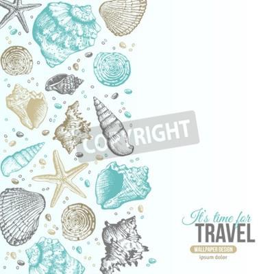 Poster O mar do verão descasca o projeto do cartão. Fundo do vetor com Seashells, estrela de mar e areia. Estilo desenhado mão da gravura a água-forte. Lugar para o seu texto.