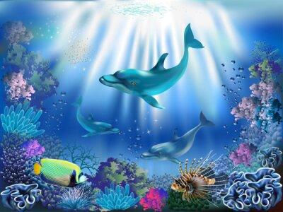 Poster O mundo subaquático com golfinhos e plantas