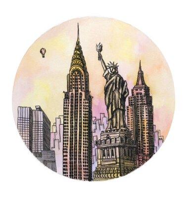 Poster O New York com o desenho da mão da aguarela do monumento da liberdade, o buillding arhitectural do famouse isolado no fundo branco.
