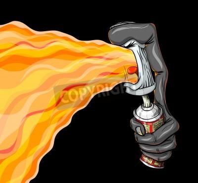 Poster O recipiente de graffiti tinta spray de fogo.