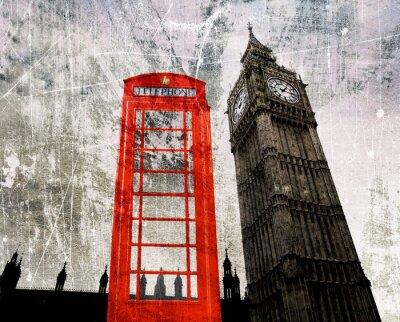 Poster Old London compor Telefonzelle und Big Ben