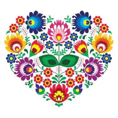 Poster Olk polonês art coração bordado - lowickie wzory