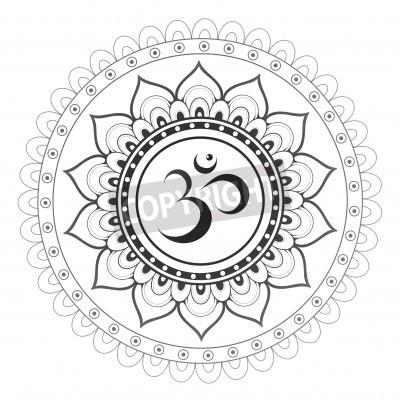 Poster OM, símbolo sânscrito de Aum com ornamento da mandala