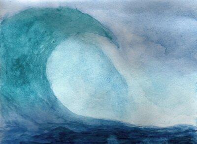 Poster Onda de oceano na aguarela