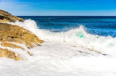 Poster Ondas de água do mar espuma Rocha Surf
