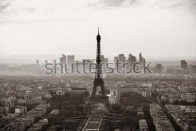 Poster Opinião do telhado da cidade de Paris com a torre Eiffel preto e branco.