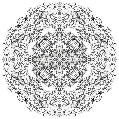 Poster Ornamento Circle, laço redondo decorativo preto e branco