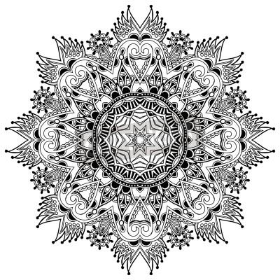 Poster Ornamento do círculo do laço, redondo ornamental padrão guardanapo geométrico, preto e branco coleção