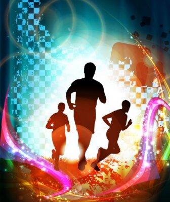 Poster Os corredores de maratona. Vetor