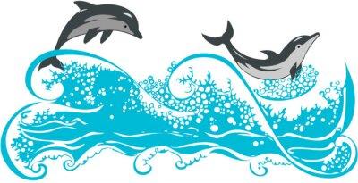 Poster Os golfinhos que saltam em ondas