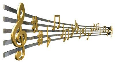 Poster Ouro Music Notes On Linhas onduladas