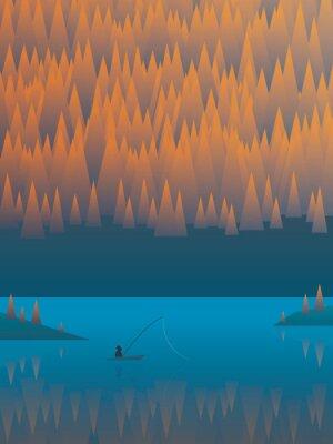 Poster Outono paisagem vector background com árvores de folhagem e um lago. Pescador, pesca, seu, bote