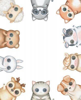 Poster Oval frame composition with kawaii cartoon cute cat, dog, bear, fox, rabbit, cow, raccoon, deer, sheep and pony isolated on white background. Watercolor hand drawn illustration