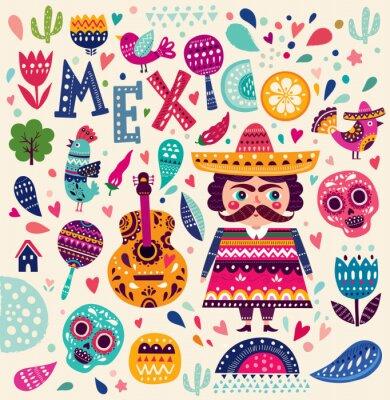 Poster Padrão com símbolos do México