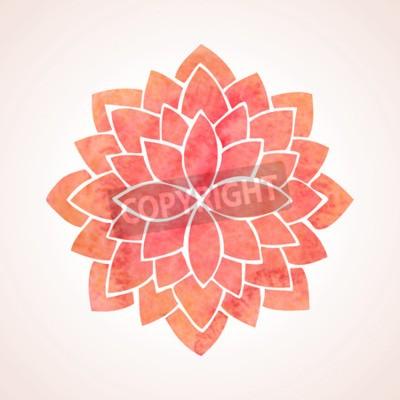 Poster Padrão da aguarela Flor de Lotus vermelha sobre fundo branco