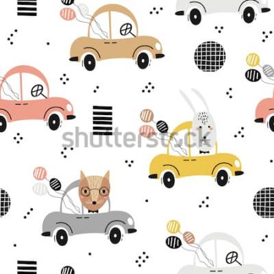 Poster Padrão de bebê sem costura com raposa bonitinha, coelho no carro. Textura criativa crianças para tecido, têxtil, papel de parede e embalagem. Ilustração vetorial