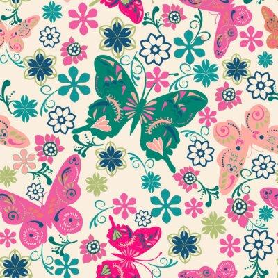 Poster padrão de borboletas e ilustração flowers-