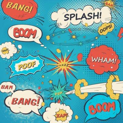 Poster Padrão de fala bolhas cómicas no estilo do pop art