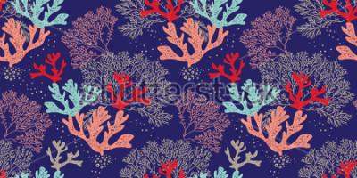 Poster Padrão de mão desenhada vetor sem alteração. Padrão na moda com corais e algas sobre um fundo azul para impressão, tecido, têxteis, fabricação, papéis de parede. Fundo do mar.