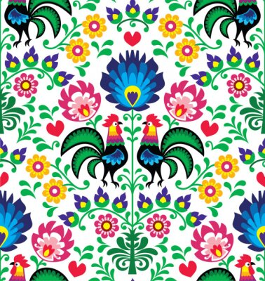 Poster Padrão floral polonês tradicional Seamless - Wzory Łowickie