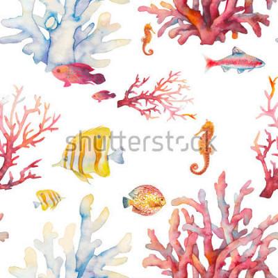 Poster Padrão sem alteração de recuperação de corais em aquarela. Projeto realístico tirado mão do fundo: peixes tropicais, corais, cavalo de mar no fundo branco. Design de textura natural de repetição para