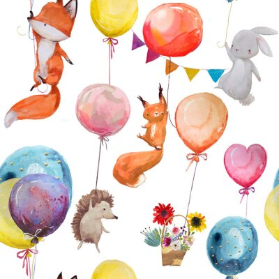 Poster Padrão sem costura com animais com balões