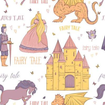 Poster Padrão sem costura com príncipe, princesa, castelo, dragão, fada, cavalo. Tema de conto de fadas. Objetos isolados. Ilustração vetorial vintage