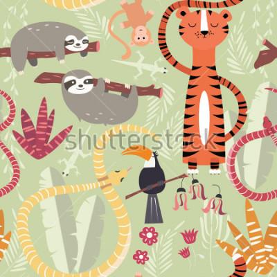 Poster Padrão sem emenda com animais fofos floresta tropical, tigre, cobra, preguiça, ilustração vetorial