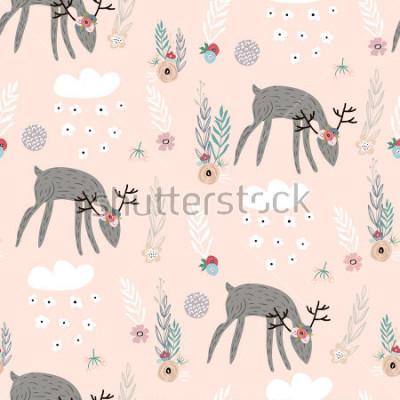Poster Padrão sem emenda com veados, elementos florais, ramos. Fundo da floresta criativo. Perfeito para vestuário de crianças, tecido, têxtil, decoração de berçário, papel de embrulho.