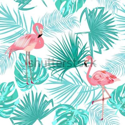 Poster Padrão sem emenda de flamingo, deixa monstera. Folhas tropicais da palmeira e das flores. Vetor de fundo.