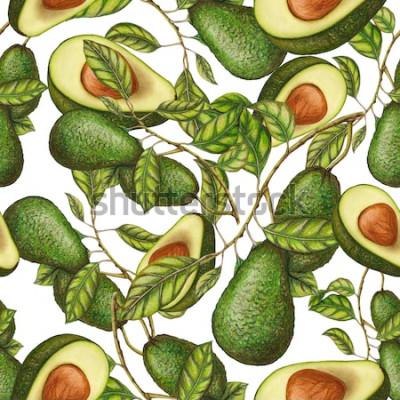 Poster Padrão sem emenda de mão desenhada abacate