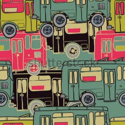 Poster Padrão sem emenda de têxteis de ônibus coloridos