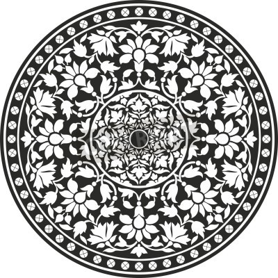 Poster Padrão tradicional indiano de preto e branco - flor da mandala