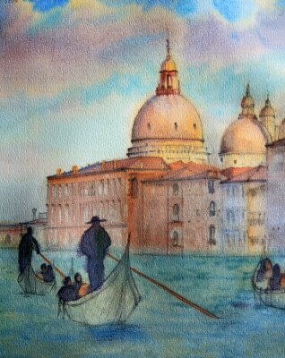 Poster Painting of Venice Italy, painted by watercolor