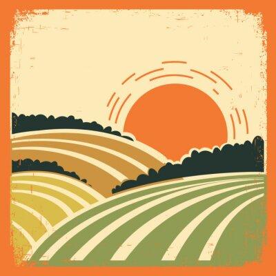 Poster paisagem com campos em cartazes antigos