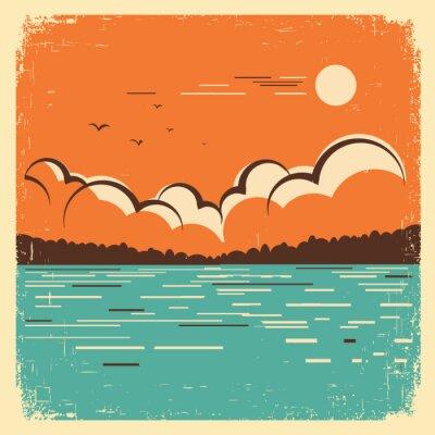 Poster paisagem com grande lago azul no cartaz velho