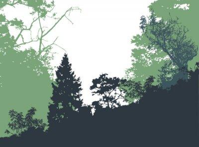 Poster Paisagem da floresta panorâmico com silhuetas de árvores