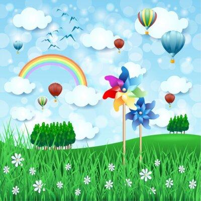 Poster Paisagem de primavera com pinwheels e balões de ar quente