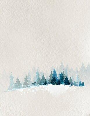 Poster paisagem do inverno com abeto floresta e dos cervos