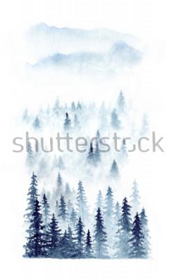 Poster Paisagem do inverno da aguarela de uma floresta na névoa. Abetos vermelhos coloridos no fundo branco