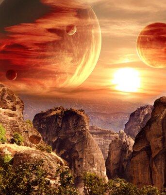 Poster Paisagem fantástica com planeta, montanhas, pôr do sol