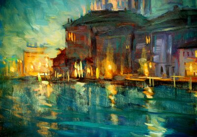 Poster paisagem noite para Veneza, pintura a óleo sobre madeira compensada, illustrat
