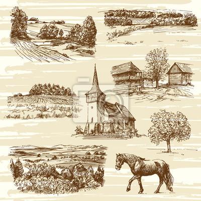 Poster paisagem rural e casas - mão coleção desenhada