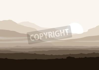 Poster Paisagem sem vida com montanhas enormes sobre o sol. Vector panorama eps10.