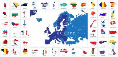 Poster Países da Europa Mapas da bandeira