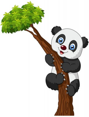 Poster Panda bonito dos desenhos animados escalada árvore