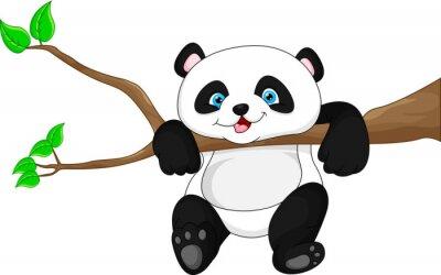 Poster Panda engraçada bonito do bebê que pendura na árvore