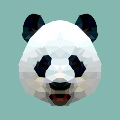 Poster panda head polygon isolated vector